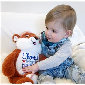 This is an image of thomas with his personalised fox cubbie