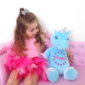 This is an image of a blue unicorn customised teddy or Harper
