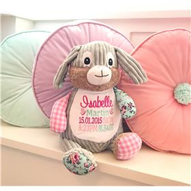 This is an image of a customised patchwork bunny pink birth announcement from My Teddy