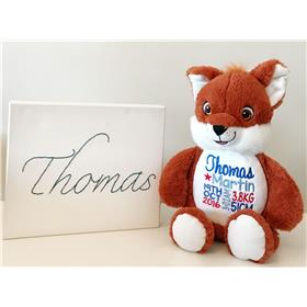 This is an image of a personalised teddy fox cubbie best birth gift from My Teddy