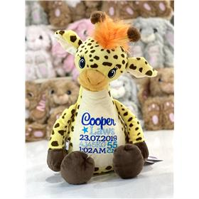 Personalise giraffe teddy with embroidery for a birth in blues.