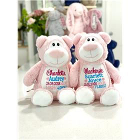 Personalised Teddy Bears Pink with Hot pink, aqua, and paster pink