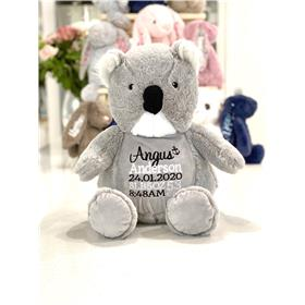 Personalised teddy bear Koala with black and white birth keepsake embroidery