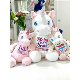 Personalised unicorns in pink, jumbo white and polka dot with birth announcement embroidery
