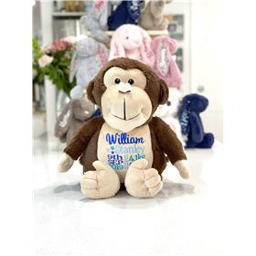 Personalised teddy bear, monkey with personalised birth announcement embroidery in blues