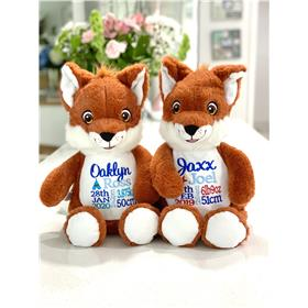 Personalised fox teddy with embroidered birth details