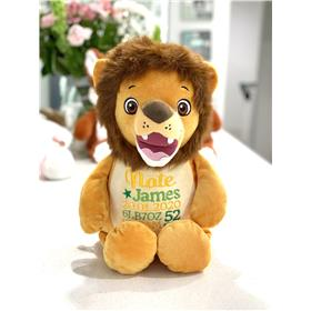 Personalied lion teddy with custom birth details in green and yellow.