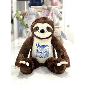 Personalised sloth Teddy bear with birth details in blue