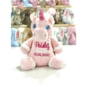 Personalised pink unicorn with pink and white birth embroidery.