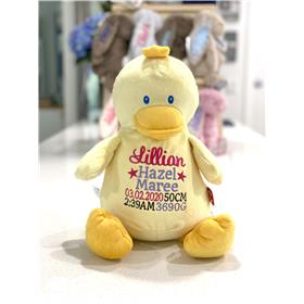 Personalised Duck embroidered with birth statistics in pink and lilac