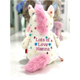 polka dot unicorn, rear view, with a message embroidered in hot pink.