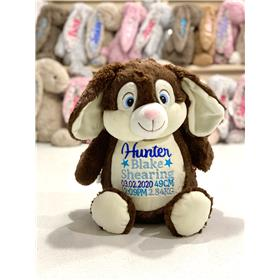 Brown bunny personalised with a birth stat template in blues
