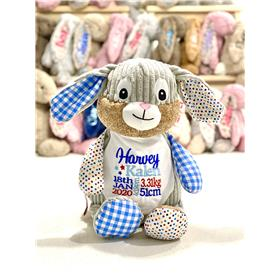 Blue Patchwork bunny with birth stat embroidery in red and blues