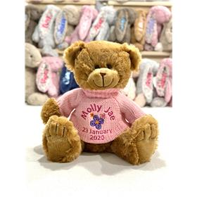 Personalsed Frankie Fudge Teddy with pink knit and custom embroidered message