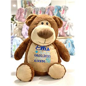 Personalised jumbo teddy.  Embroidery in three blues