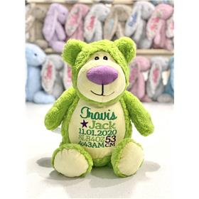 Green teddy in lime green with purple nose.  Custom embroidered teddy for a baby with green and lilac embroidery