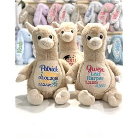 Personalised teddy bear llama, with birth keepsake embroidery in a variety of colours