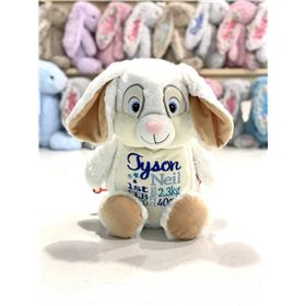 Personalised bunny white with three blues embroidery