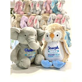 Elephant and own with personalised birth embroidery for babies in blue