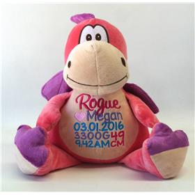 This is an image of a pink dragon cubbie personalised by My teddy