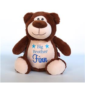 This is a image of personalised baby gifts brown teddy cubbies big brother gift from My Teddy