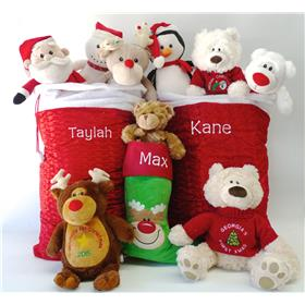 Personalised Christmas teddy and santa sacks