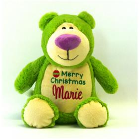 Lime green Christmas teddy