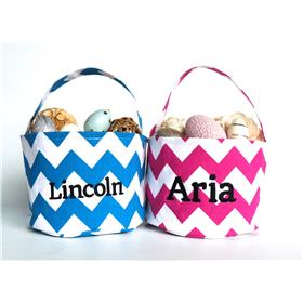 Beautiful Easter Baskets Personalised for your little one.  Pink and blue chevrons