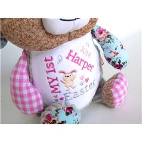 Patchwork bunny in pink personalised fora first Easter