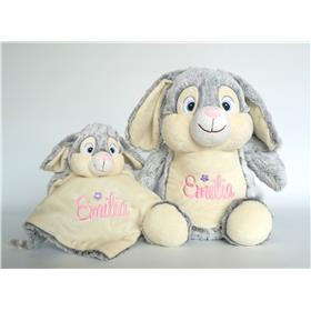 Grey Bunny and snuggle set