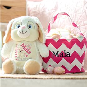 White bunny personalise for Easter and a pink chevron Easter Basket Personalised for Maia