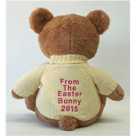 The back of a teddy bear from the Easter Bunny