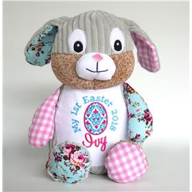 Pink Patchwork bunny for a first Easter gift idea