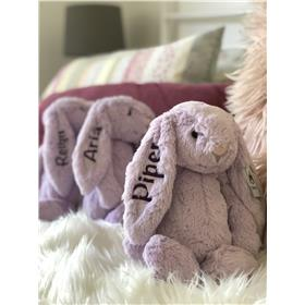 Jellycat bunnies Personalised in Hyacinth with deep purple embroidery