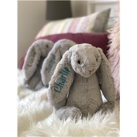 Silver Jellycat bunny personalised with aqua embroidery