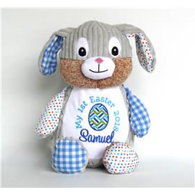 Patchwork bunny in blue for Easter