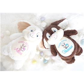 Chocolate and White Easter Bunnies personalised for you.