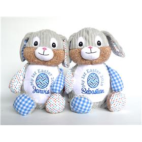 Patchwork bunnies in blue with Easter embroidery