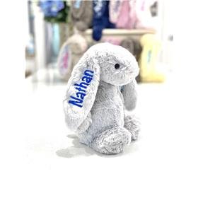 Silver Jellycat bunny with royal blue embroidery