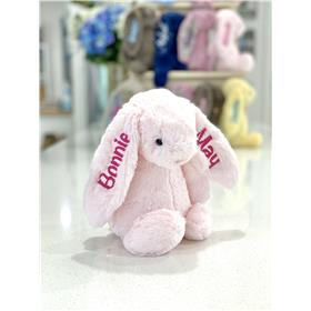 Pink Jellycat bunny personalised with hot pink embroidery on two ears