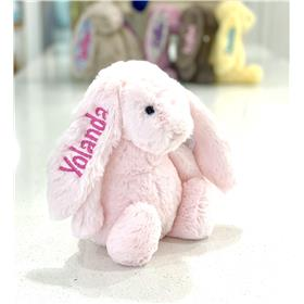 Pink Jellycat bunny with sand pink personalised embroidery