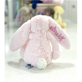 Pale pink Jellycat bashful bunny rear view