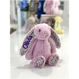 Tulip Blossom Bashful bunny Jellycat with Purple embroidery