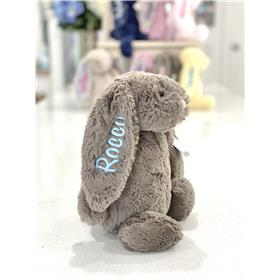 Truffle Jellycat bunny with pale blue embroidery