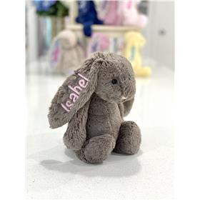 Truffle Jellycat bunny with pastel pink personalisation