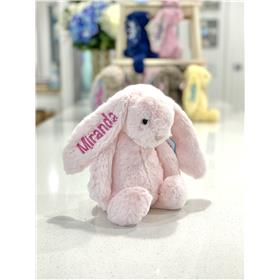 Pink Jellycat bunny with candy pink personalised embroidery