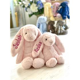 Pink Jellycat bunny with hot pink embroidery