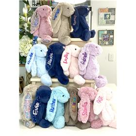 A collection of various Jellycat bashful bunnies.