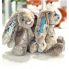 Two cute cottontail bunnies from Jelly cat pale blue embroidery, and aqua embroidery
