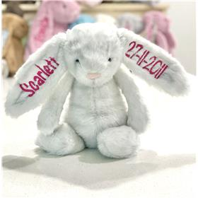 Jellycat Bunny Birch with hot pink embroidery